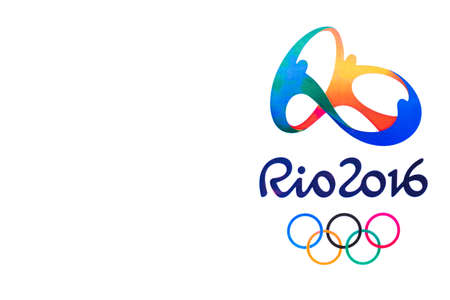 rio de janeiro: Bangkok, Thailand - May 7, 2016: Official logo of the 2016 Summer Olympic Games in Rio de Janeiro, Brazil, from August 5 to August 21, 2016 with copy space, printed on paper. Editorial