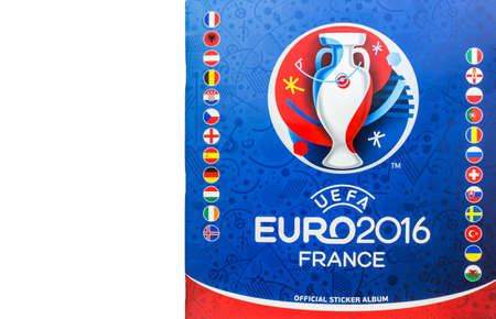Bangkok, Thailand - MAY 14, 2016: 2016 UEFA Euro France Official licensed sticker album isolated on white background 新聞圖片