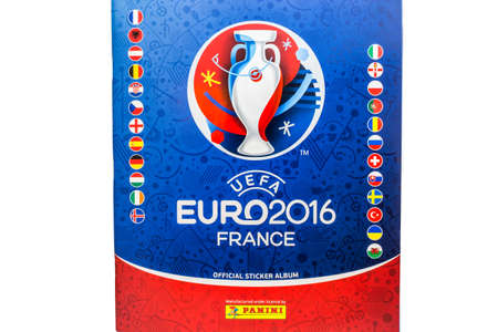 Bangkok, Thailand - MAY 14, 2016: 2016 UEFA Euro France Official licensed sticker album isolated on white background 版權商用圖片 - 56537305