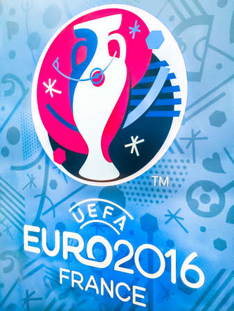 Bangkok, Thailand - April 23, 2016: Official logo of the 2016 UEFA European Championship in France on billboard at Future Park Shopping Mall. 版權商用圖片 - 56982199