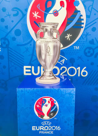 Bangkok, Thailand - April 23, 2016:Paper model of champion cup for  the 2016 UEFA European Championship in France at Future Park shopping mall. 新聞圖片