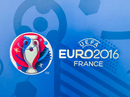 Bangkok, Thailand - April 23, 2016: Official logo of the 2016 UEFA European Championship in France on billboard at Future Park Shopping Mall. 版權商用圖片 - 56982690