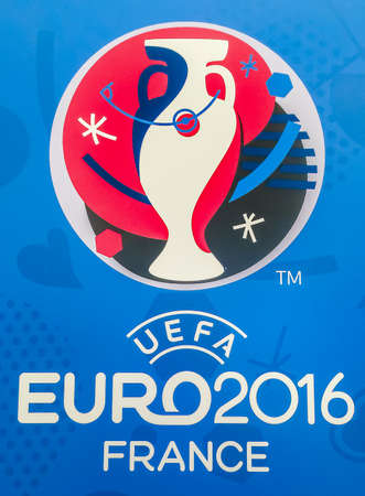 Bangkok, Thailand - April 23, 2016: Official logo of the 2016 UEFA European Championship in France on billboard at Future Park Shopping Mall. 版權商用圖片 - 56982691