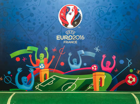 Bangkok, Thailand - April 23, 2016: Official logo of the 2016 UEFA European Championship in France on billboard at Future Park Shopping Mall. 版權商用圖片 - 56982693