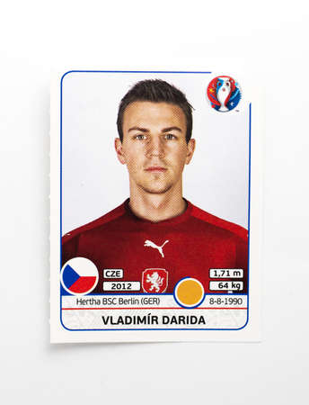 Bangkok, Thailand - June 1, 2016: Panini Official licensed sticker of Vladimir Darida who is player of Czech for 2016 UEFA Euro France.