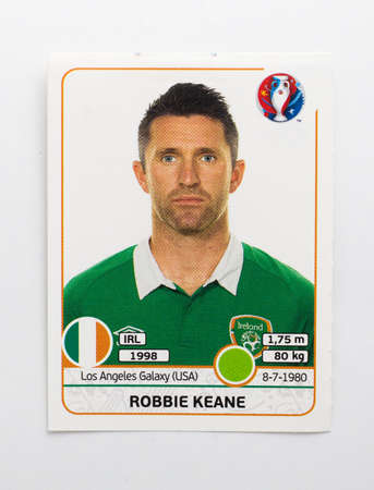 uefa: Bangkok, Thailand - June 1, 2016: Panini Official licensed sticker of Robbie Keane who is player of Northern Ireland for 2016 UEFA Euro France.