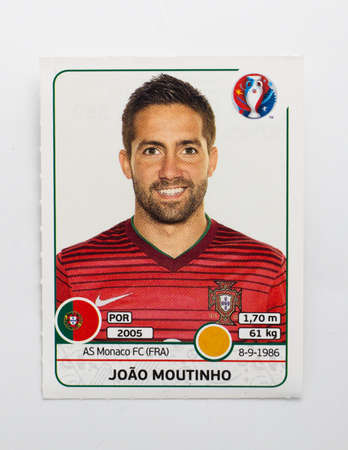 Bangkok, Thailand - June 1, 2016: Panini Official licensed sticker of Joao Moutinho who is player of Portugal for 2016 UEFA Euro France. 版權商用圖片 - 57540932