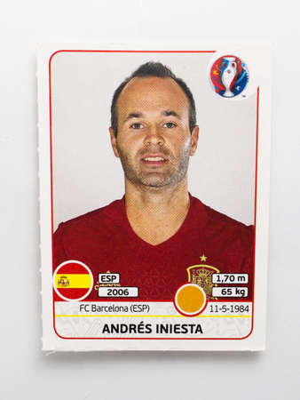 Bangkok, Thailand - June 1, 2016: Panini Official licensed sticker of Andres Iniesta who is player of Spain for 2016 UEFA Euro France. 新聞圖片