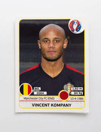 Bangkok, Thailand - June 1, 2016: Panini Official licensed sticker of Vincent Kompany who is player of Belgium for 2016 UEFA Euro France.