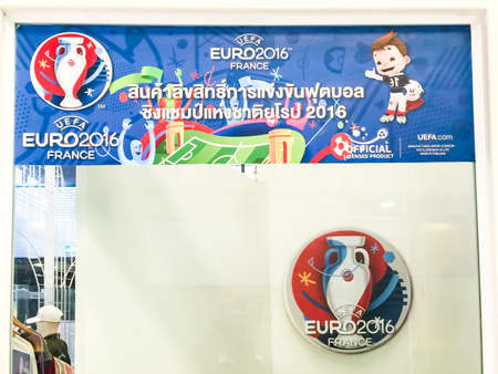 Bangkok, Thailand - June 9, 2016: Billboard is in front of a shop which sell prodcuts of  2016 UEFA Euro France at Meleenont Tower in Thailand.