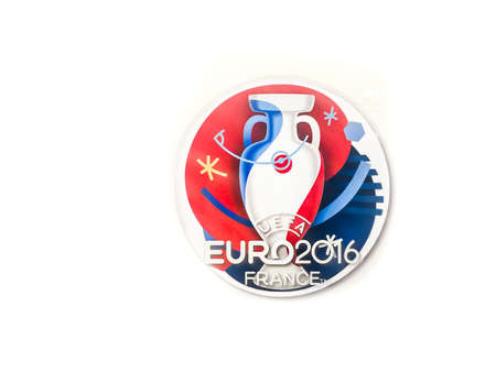 Bangkok, Thailand - June 9, 2016: Official Logo of 2016 UEFA Euro France was showed in front of a shop at Meleenont Tower in Thailand. 版權商用圖片 - 58009426