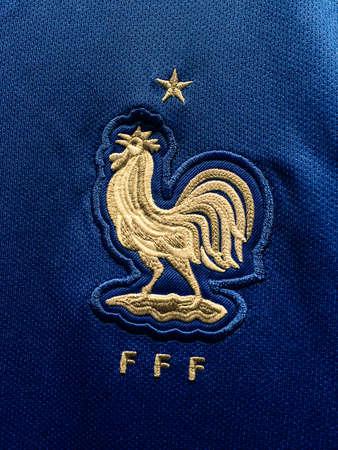 BANGKOK, THAILAND - June 9, 2016: The logo of France national football team on official jersey. 版權商用圖片 - 58009432