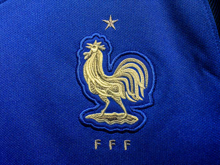 BANGKOK, THAILAND - June 19, 2016: The logo of France national football team on official jersey. 新聞圖片