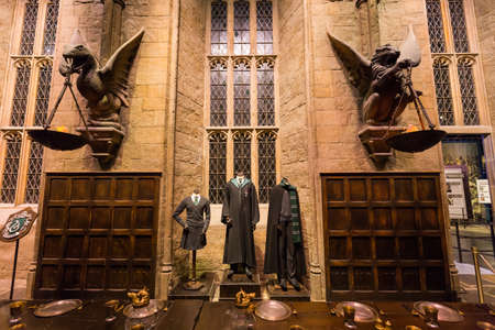 harry: Leavesden, London - March 3 2016: The Hall in the Warner Brothers Studio tour The making of Harry Potter.There is model of Slytherin from Harry Potter film
