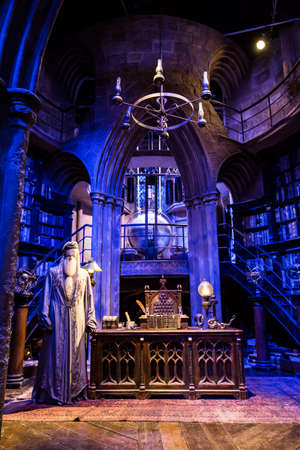 harry: Leavesden, London - March 3 2016: Working room of Professor Albus Dumbledore in the Warner Brothers Studio tour The making of Harry Potter.