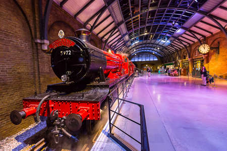 Leavesden, London - March 3 2016:  The Hogwarts Express and platform in the Warner Brothers Studio tour 'The making of Harry Potter'.