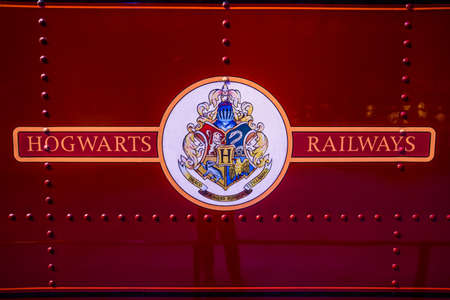 potter: Leavesden, London - March 3 2016:  Logo of Hogwarts railways on train, the Warner Brothers Studio tour The making of Harry Potter.