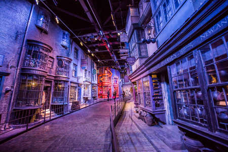 film making: Leavesden, London - March 3 2016: Scene of buildings from Harry Potter film in the Warner Brothers Studio tour The making of Harry Potter.