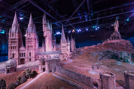 bros: London, United Kingdom - March 3, 2016 - A scale model of Hogwarts at The Warner Bros. Studio Tour - Making of Harry Potter.Film based on the best selling series of books by the author J. K. Rowling.