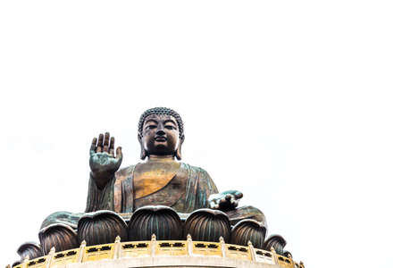 Giant Buddha isolated over white background, with copyspace