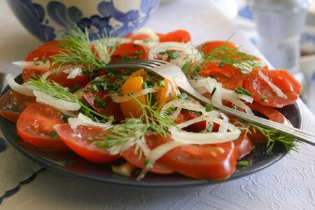 Plate of tomatoes Stock Photo
