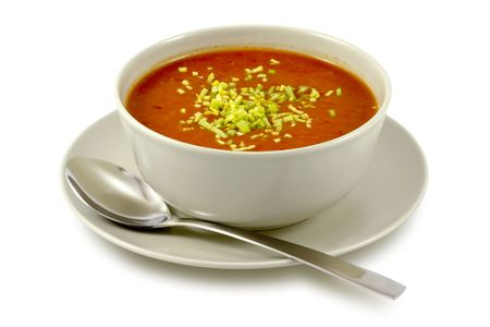 soup bowl: Delicious, creamy tomato soup in ceramic bowl on white Stock Photo