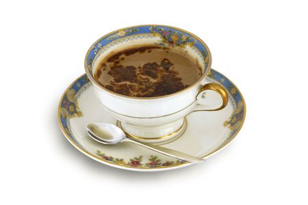 Aromatic, black coffee with chocolate in  old, vintage, ceramic cup (on white)