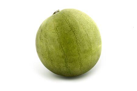 Green, fresh, striped whole melon on white