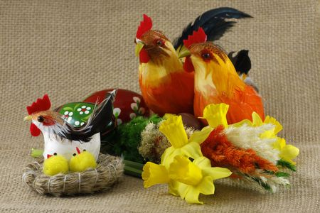 Easter decorations on cloth Stock Photo
