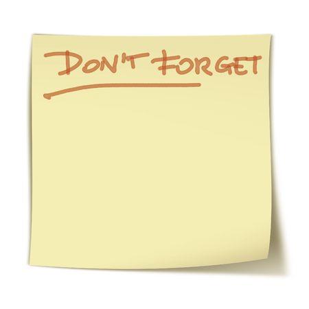 chancellerie: Petit, stiker carr� jaune avec les mots: ne pas oublier