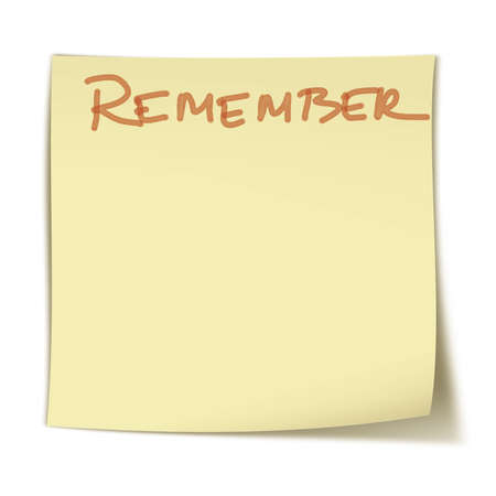 Small, square yellow sticker with word: remeber Stock Photo