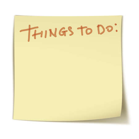 Words: things to do on small, square yellow sticker