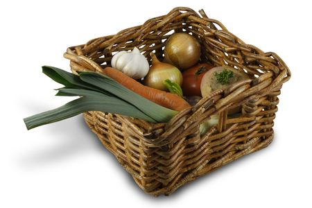 Wicker basket of colorful vegetables