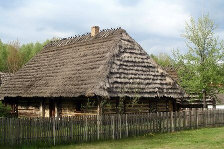 Wooden, old, magic cabin at the countryside photo