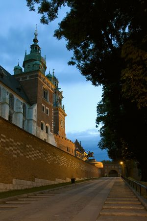 Historical Wawel cathedral in Cracow by night Stock Photo