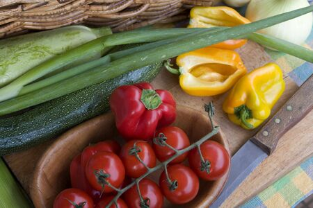 Colorful, fresh vegetables in the rustic kitchen
