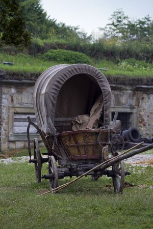 Old, vintage cart on the courtyard