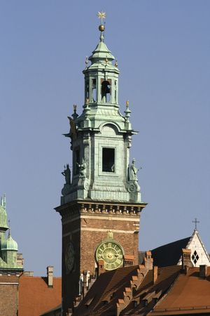 Tower of Wawel cathedral at the sunny afternoon Stock Photo
