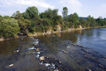 Summer, wide, shallow, mountain river