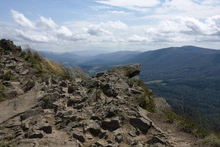 Open view from the edge of the mountain precipice Stock Photo