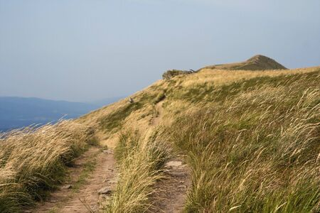 Narrow tourist trail among mountain meadows during windy day Stock Photo