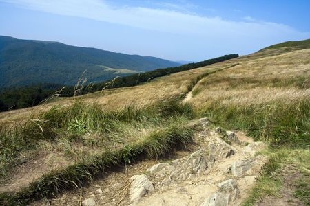 Twisting, tourist trail in mountains among meadows