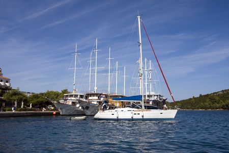 Yacht port, mooring boats Stock Photo