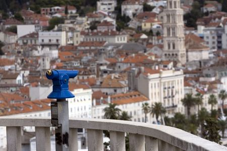 Look at the city, blue telescope is waiting