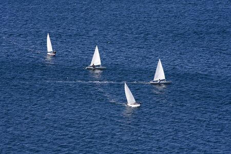 Boat race, sport competition at the open sea Stock Photo