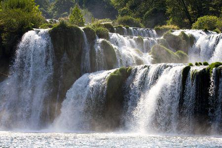 Fragment of huge, wild, rapid waterfall terraces