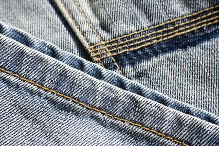 Close up of traditional, washed and jeans trousers