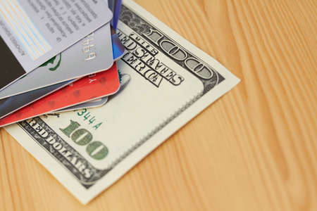 Credit card and dollar close-up Stock Photo - 17315036