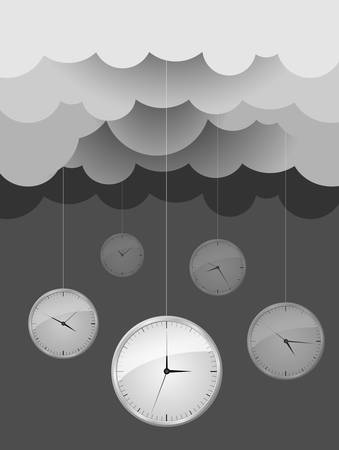 Vector Image, Dark gray clouds and clocks  design idea Vector