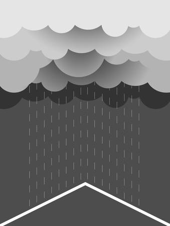 rainfall: Rain Vector image with dark clouds in wet day